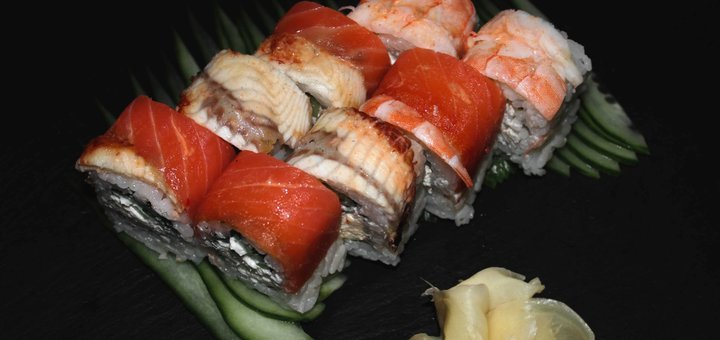 Скидка 55% на все суши, пиццу и WOK с доставкой или самовывозом от службы «Бур-жуй»