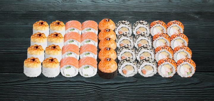 Скидка 45% на сет «Сырный 1 кг» и 41% cкидки на сет «Большая рыба 1, 5 кг» от «Суши Wok»